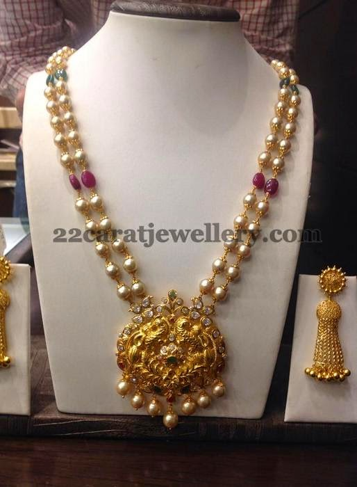 Pearls Chain With 38 Grams Pendant Jewellery Designs