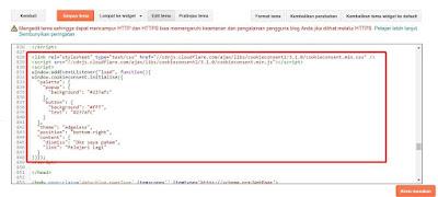 Pemasangan Kode HTML Cookie Consent di Template Blog
