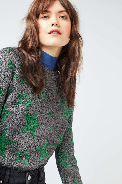 green star jumper, silver star jumper, silver green star jumper, topshop star jumper,