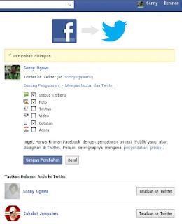 cara menghubungkan akun facebook ke akun twitter