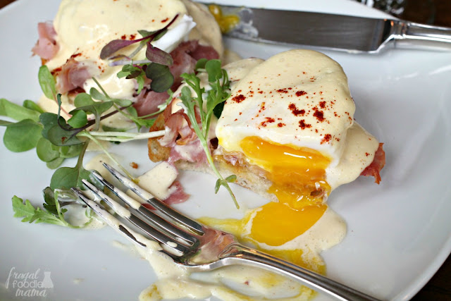 The delicious eggs benedict with perfectly poached eggs and micro greens served for breakfast at the Hillbrook Inn & Spa.