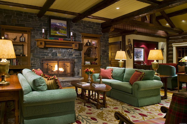 fabulous rustic living room with gren fabric sectional sofa and oval wooden coffee table