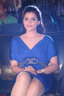 Mannara Chopra in Short Blue Dress at Rogue Movie Teaser Launch 1st March 2017 035.JPG