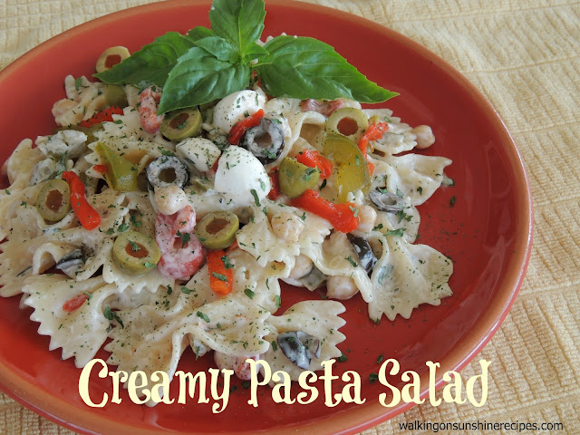 An easy and delicious recipe for creamy pasta salad that everyone will love.  Perfect for your next family party from Walking on Sunshine Recipes.