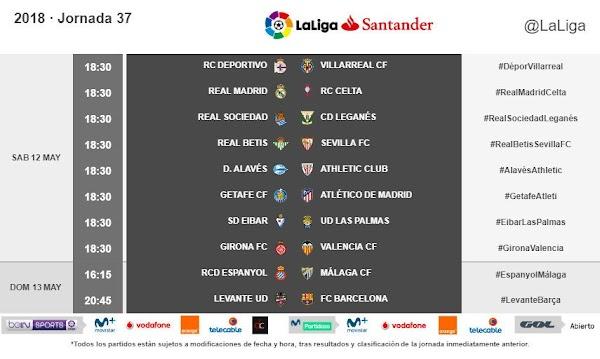 Liga Santander 2017/2018, horarios oficiales de la jornada 37