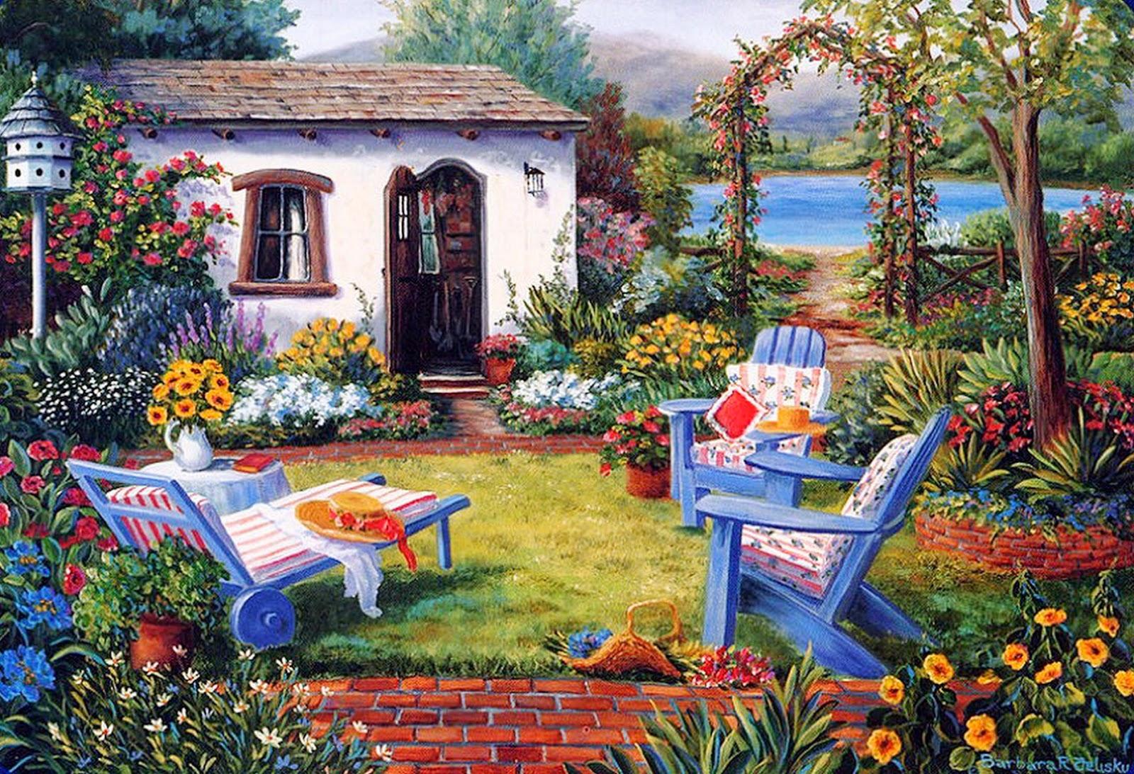 Imagenes De Jardines Con Flores: Imágenes Arte Pinturas: Paisajes Con Jardines Y Flores