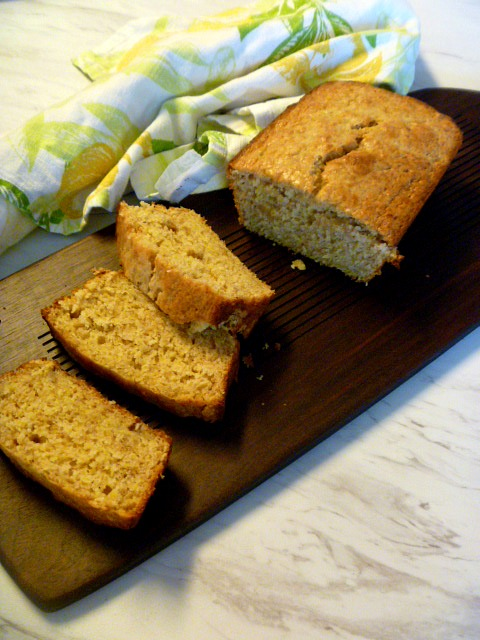 Hot from the oven, Brown Sugar-Sour Cream Banana Bread - HEAVENLY!  Slice of Southern