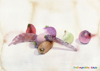 水彩画 小さな野菜 Small Vegetables Watercolor