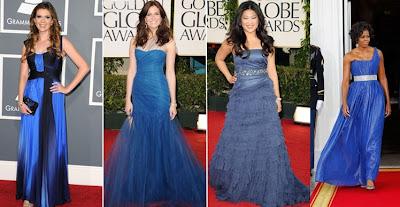 famosas com vestido azul