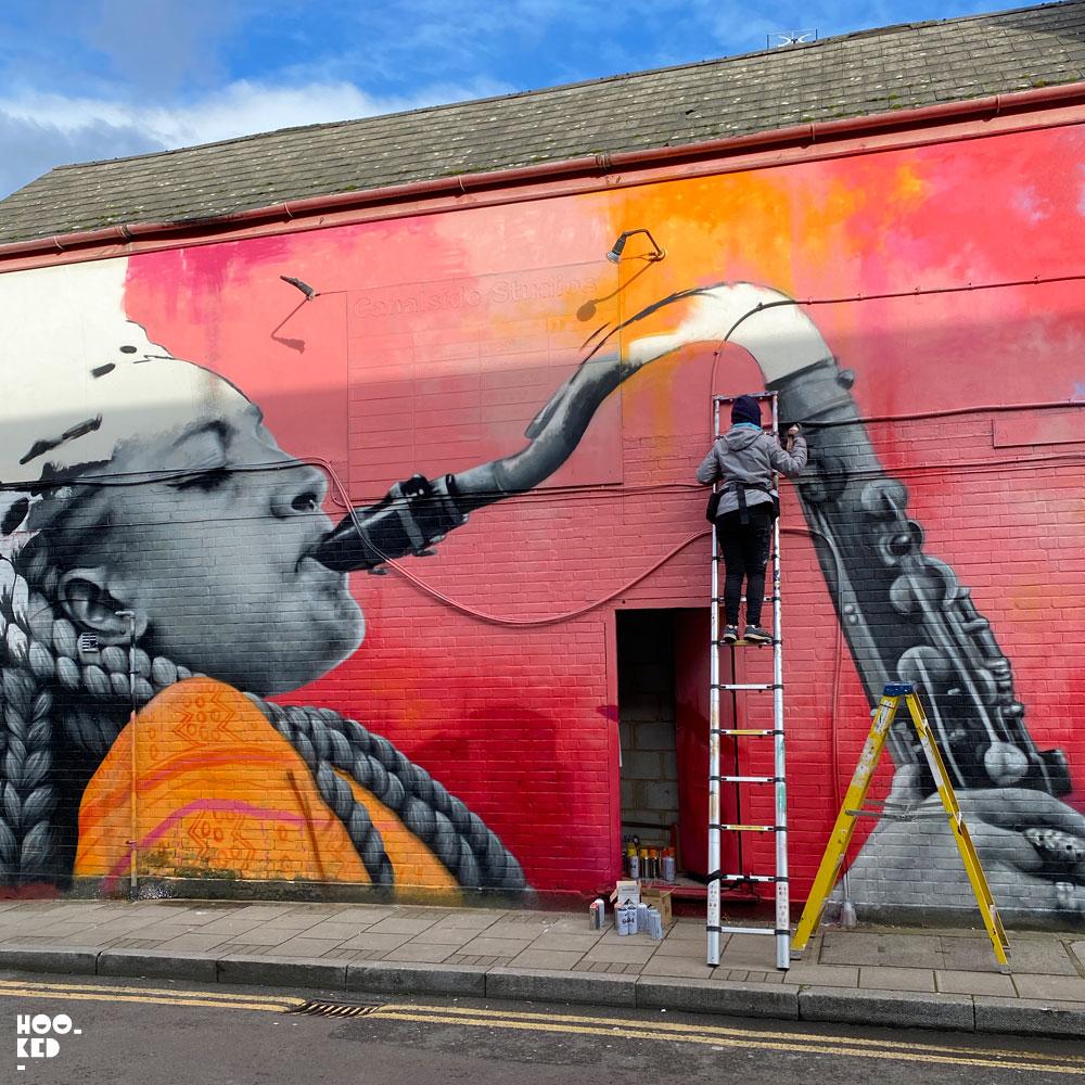 Work In progress by French street artist Zabou in Haggerston London