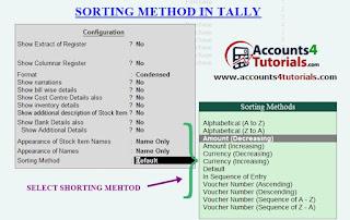 sorting method in tally