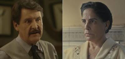 Júlio (Antonio Calloni) e Lola (Gloria Pires) na novela das seis