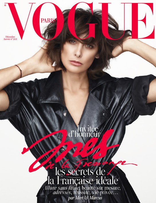 Ines de la Fressange on the Christmas cover of French Vogue