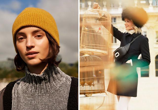 Девушка в трикотажной желтой шапке и в меховой шапке