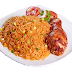 Delicious Jollof Rice With Fried Chicken