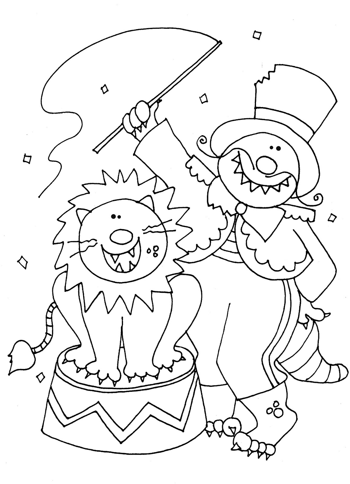 Free dearie dolls digi stamps circus lion taming beast for Printable circus coloring pages