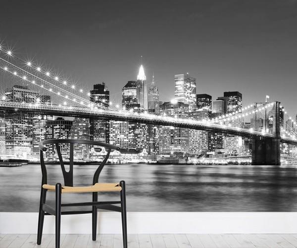 Brooklyn Bridge Tapetti New York Mustavalkoinen