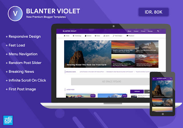 Blanter Violet Premium Blogger Template