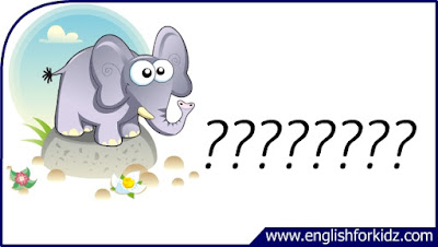 elephant flashcard, cartoon elephant image, esl flashcard
