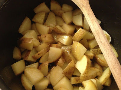 sauteed potatoes in the pan