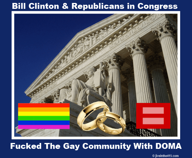 The Supreme Court of the United States Building in Washington, and gay symbols.