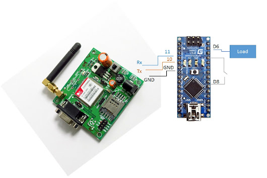 Control appliances through GSM modem / GSM connection with Arduino Nano