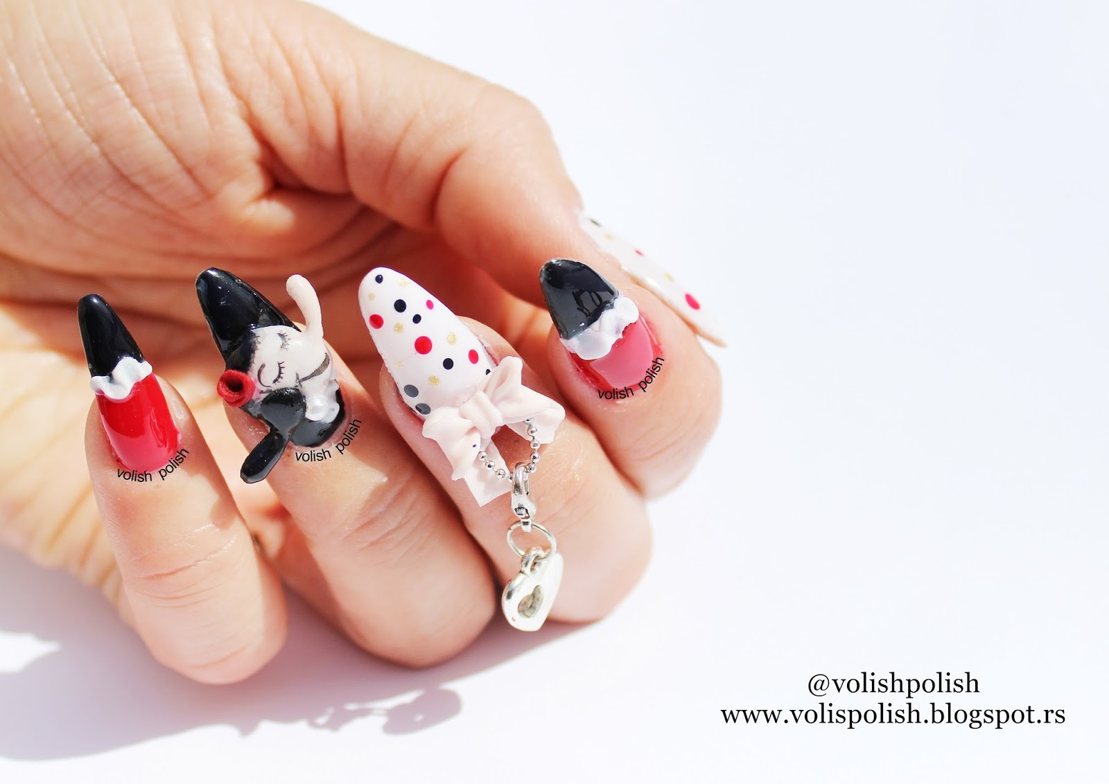 Volish polish cheap and chic nail art dizajn na akrilnim noktima i topped everything with an nsp super gloss top coat to give some extra shine to this cheap and chic nail art designlike moschino and olive oyl deserve prinsesfo Choice Image