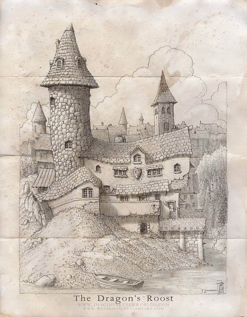 03-The-Dragon-s-Roost-John-Stevenson-Fantasy-Architecture-Maps-and-Buildings-www-designstack-co