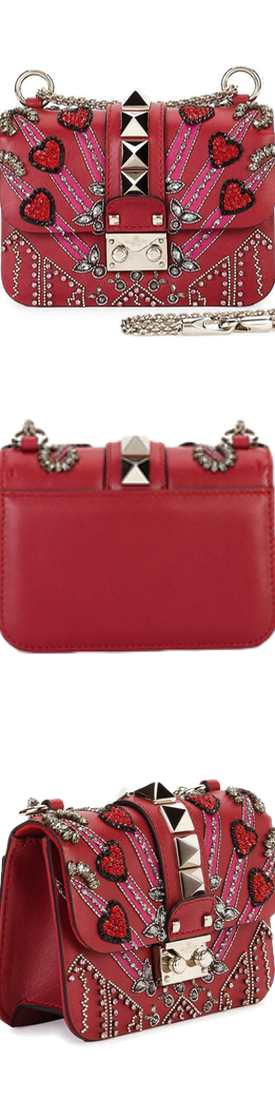 Valentino Lock Mini Love Blade Shoulder Bag, Red