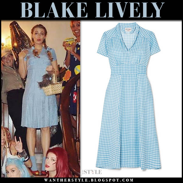 Blake Lively in blue midi gingham dress new year's eve party 2018