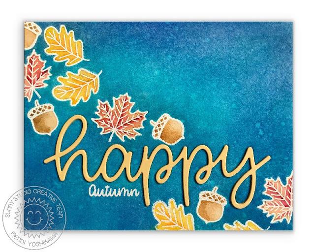 Sunny Studio Stamps: Beautiful Autumn Fall Leaves Happy Watercolor Card by Mendi Yoshikawa