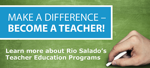 hand wriing on a chalkboard.  Text: Make a Difference, become a teacher.  Learn more about Rio Salado College's Teacher Education Program
