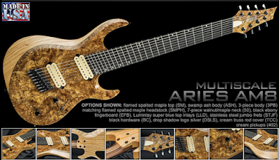 local music gear cool gear new aries am8 multiscale fanned fret 8 string guitar. Black Bedroom Furniture Sets. Home Design Ideas