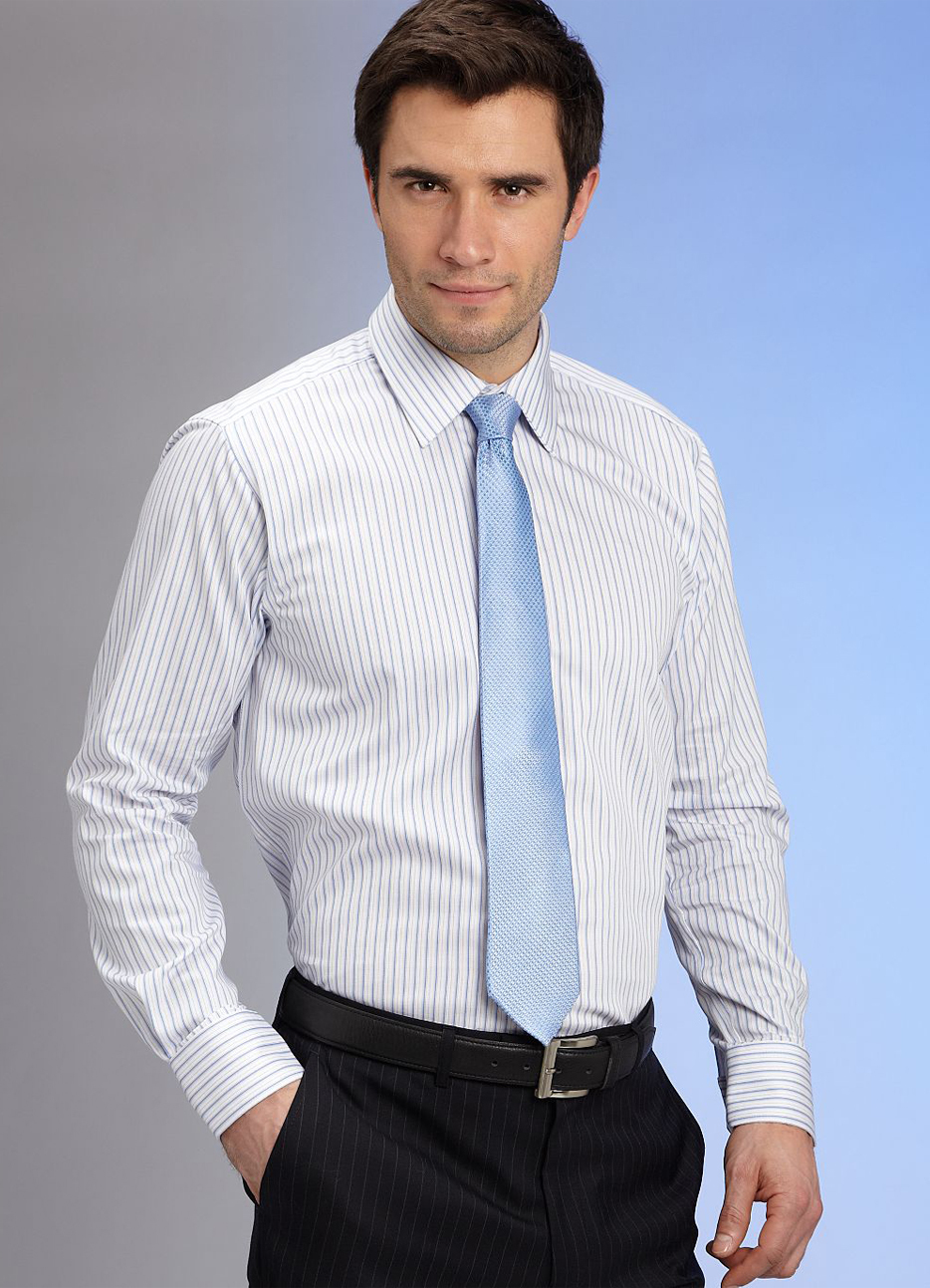 Product Features Matching tie and handkerchief Men's pointed collar long sleeve dress shirt Pink.