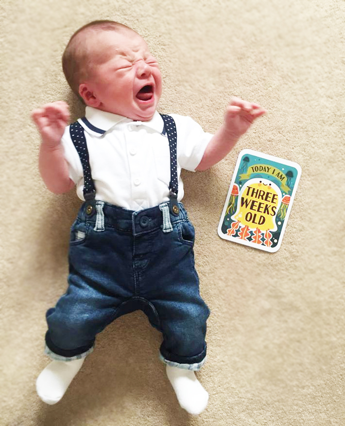 newborn update 3 weeks old dungarees baby next