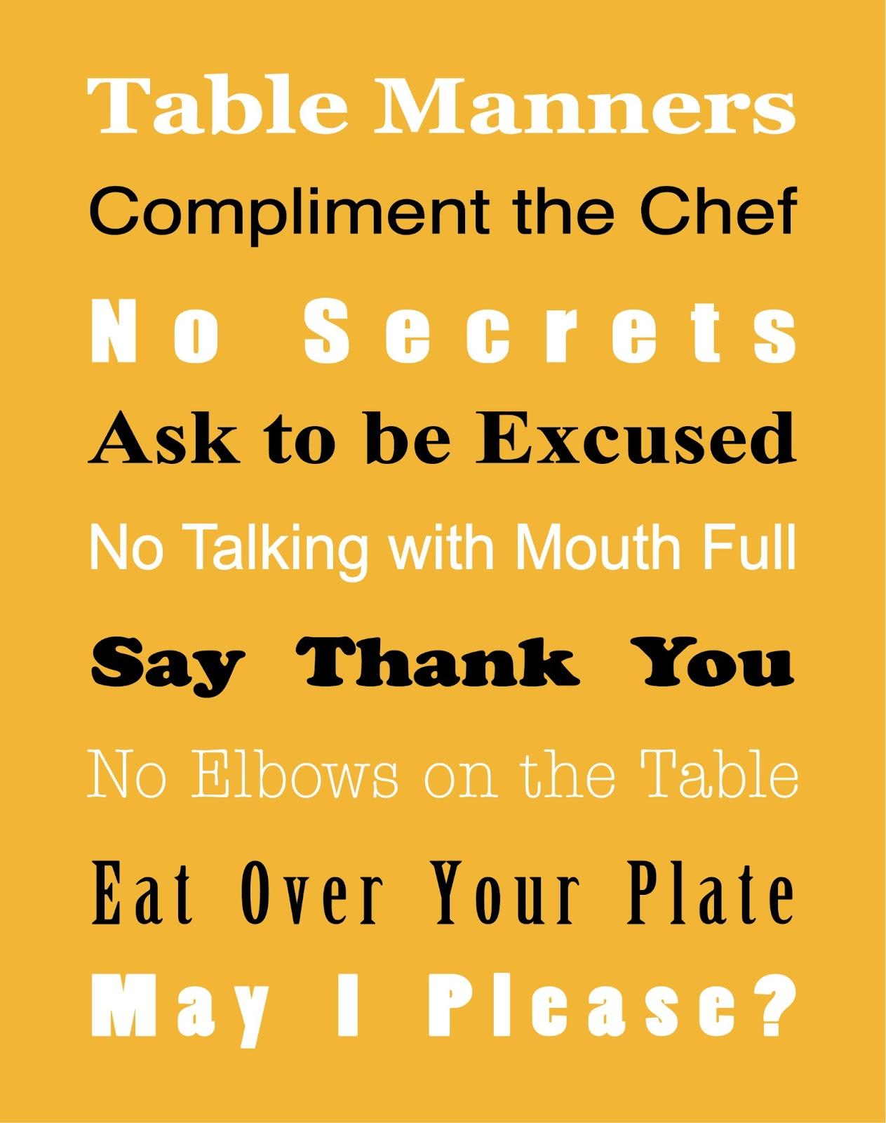 Basic Table Manners Free Printable