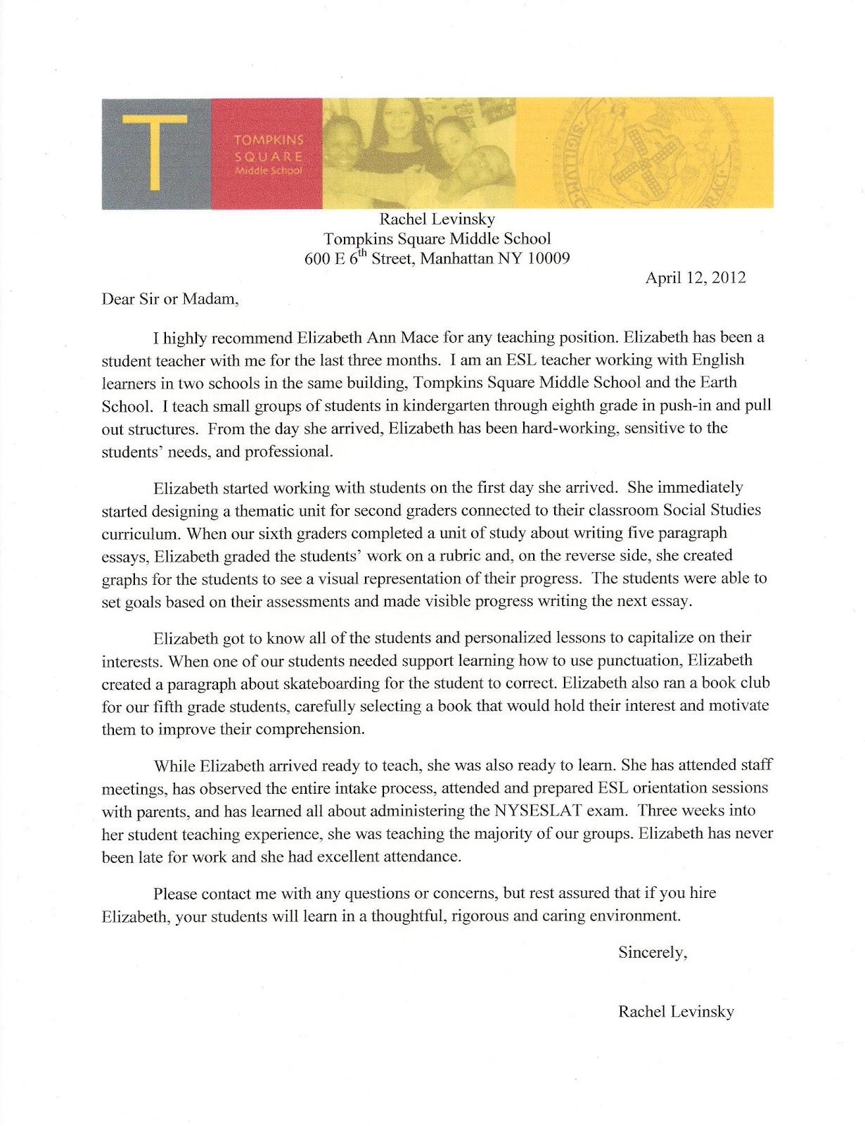 cooperating teacher letter recommendation