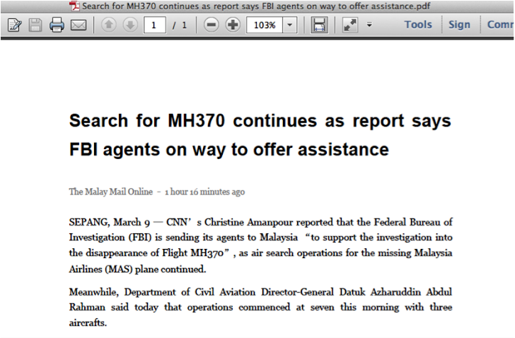 Malaysian flight MH370 tragedy abused by Chinese hackers for Espionage attacks