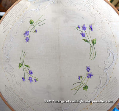Society Silk Violets: more completed embroidered violet motifs in antique silk floss