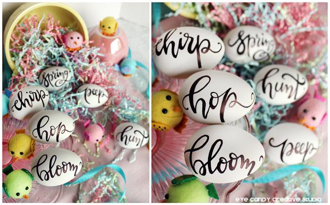 spring decor, easter decorations, custom easter eggs, hand lettered