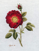 Original version of the thread painted embroidered rose 'French Rose'