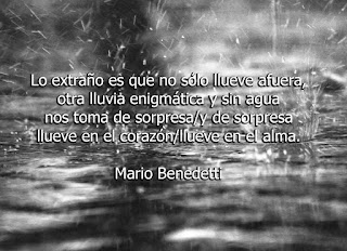 """""""Lo extraño es que no sólo lluebe afuera, otra lluvia enigmática y sin agua nos toma de sorpresa/y de sorpresa llueve en el corazón/llueve en el alma."""" Mario Benedetti"""