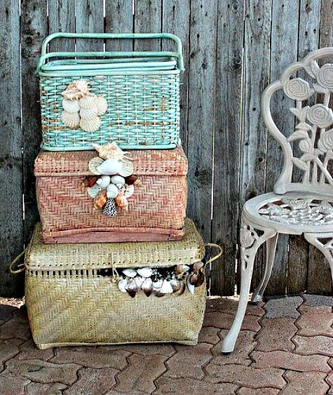 Baskets Decorated with Sea Shells
