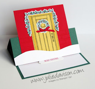 VIDEO: Fun Fold Series: Easel Card Tutorial ~ Stampin' Up! At Home With You Christmas Card ~ www.juliedavison.com