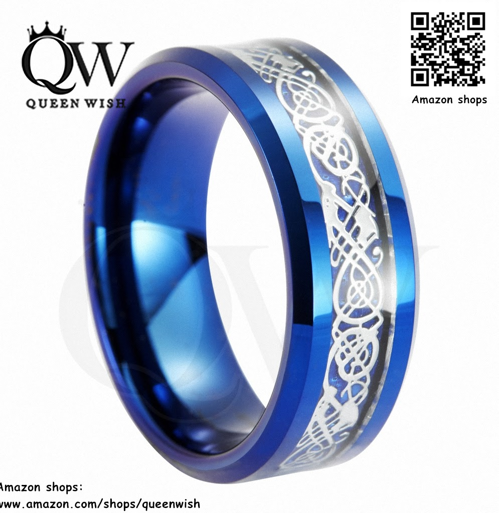 Queenwish Free shipping 8mm Blue Tungsten Carbide Ring Celtic Dragon