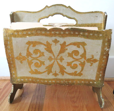 vintage magazine rack holder gold italian 1950s antique