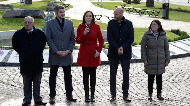 Vidal, Peña y Dietrich presentaron el Metrobús en Mar del Plata