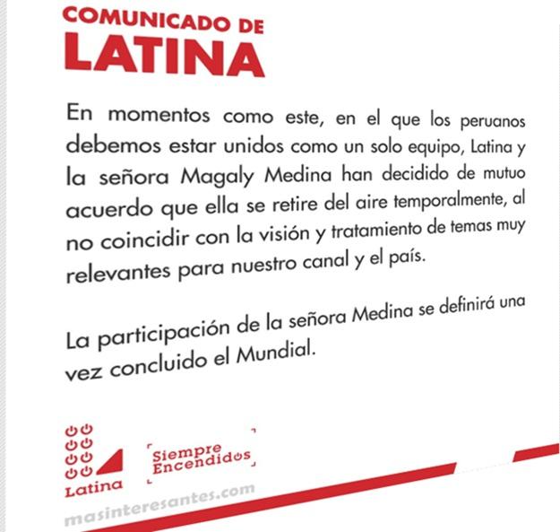 Comunicado de Latina sobre retiro de Magaly Medina