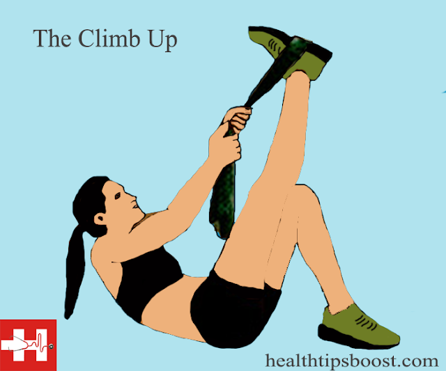 The climb up abs exercise involves the user laying on their back and climbing their leg.This engages the abdominal muscles.For more information visit healthtipsboost.com