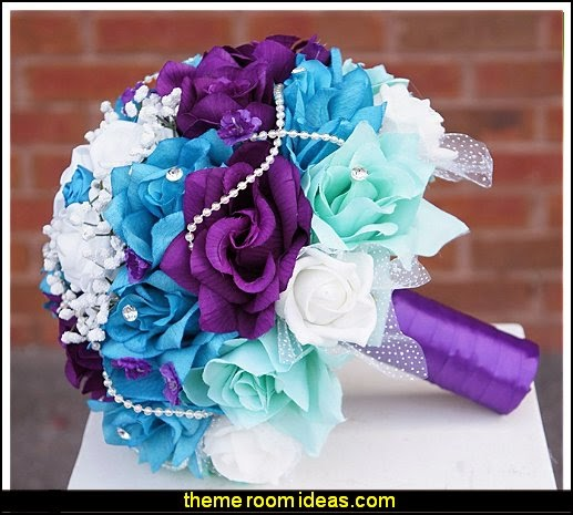 Bouquet and boutonniere set silk flowers bridal bouquet